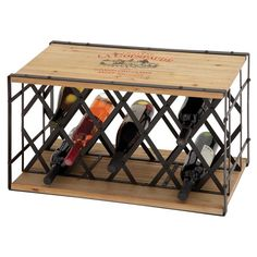 Holding up to 13 bottles of your favorite vintages, this wood and metal wine rack showcases a crate-inspired silhouette and label motif.   ...