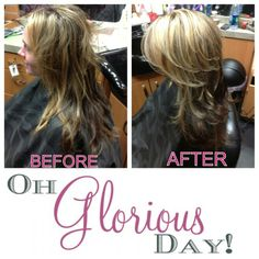 206461964141110895 ~~~GLORIS GLORIOUS HAIR~~~  We kicked Gloris hair up a notch by adding 3 dimensional highlights! (light blonde ash, medium brown ash and dark natural brown). We then gave her a long layered hair cut with shorter layers placed at her crown for extra volume!