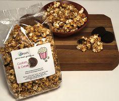 Cookies & Cream Baked Caramel Popcorn by Nana's Gourmet Goodies, 8 oz Bag Homemade Popcorn, Best Popcorn, Flavored Popcorn, Gourmet Popcorn, Mini Chocolate Chip Muffins, Moist Brownies, Popcorn Favors, Star Cookies, Cookies And Cream