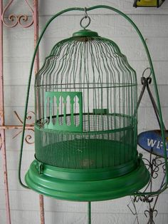 Vintage Dome Top Birdcage And Stand Old Shabby by RedBarnEstates, $150.00