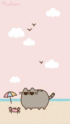 Pusheen cat iphone wallpaper summer
