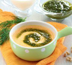 Морковный суп-пюре с укропным песто