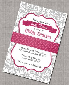 Girl Baby Shower Invitations Printable by alittletreasure on Etsy