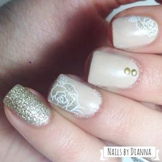 stamping and glitter nail art Do It Yourself Nails, How To Do Nails, Rose Nails, Flower Nails, Pointed Nails, Nail Candy, Stamping Nail Art, Bridal Nails, Wedding Nails
