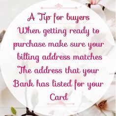 A few tips for Buyers 🔆When trying to purchase an item from Poshmark check to make sure that your billing address & the address that the bank has your card under are the same. If they are different your transaction will not go through.🔆Before making a purchase please be careful to read the description, so you can make sure that you will be happy with what you are purchasing. Other