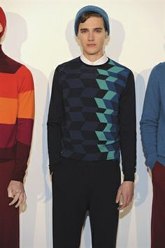Navy blue geometric print knitwear by Smedley London Collections Men 2014