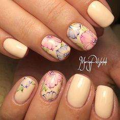 Beautiful delicate nails, Beige dress nails, Delicate beige nails, Delicate spring nails, Gentle shellac nails, Pale nails 2016, Spring nail designs