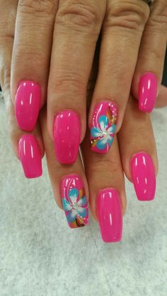 nail nailart nailidea nailinspiration naildesign is part of nails - nails Tropical Nail Designs, Colorful Nail Designs, Nail Designs Spring, Nail Art Designs, Tropical Nail Art, Beach Nail Designs, Butterfly Nail Art, Flower Nail Art, Spring Nails