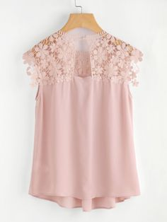 Shop Keyhole Back Daisy Lace Shoulder Shell Top online. SheIn offers Keyhole Back Daisy Lace Shoulder Shell Top & more to fit your fashionable needs. Blouse Styles, Blouse Designs, Pink Lace Tops, Lacy Tops, Denim And Lace, Beautiful Blouses, Pretty Outfits, Blouses For Women, Fashion Dresses