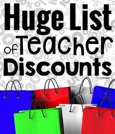 Huge list of teacher discounts!