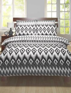 Black and white single bed duvet cover & pillowcase bed set, funky, new