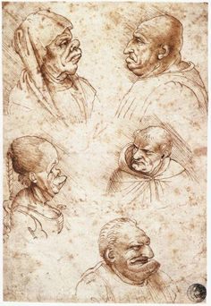 Five caricature heads, 1490 Leonardo da Vinci