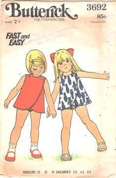 Butterick 3692 1970s Toddlers 3 Armhole Wrap Around by mbchills
