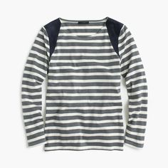 Striped Suede-shoulder T-shirt in Heather Charcoal Salt (J Crew)