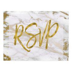 White & Gold Marble RSVP Wedding Invitation Reply Postcard