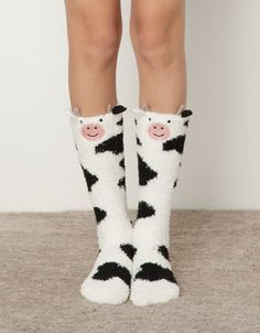 Oyosho | Cow print fleece socks - Socks - Accessories - Italia ~ these look warm and adorable!