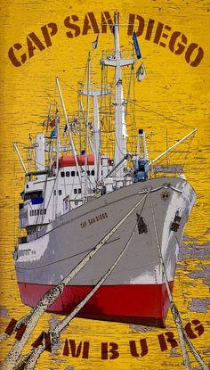 Cap San Diego 1962, Alemania, buque mercante actualmente convertido en barco museo en el puerto de Hamburgo