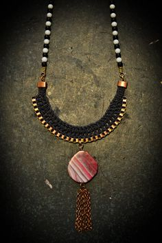 Pink Agate Necklace Black and White Beads Statement by gudbling, €79.00