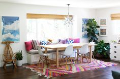 Fun colorful dining area