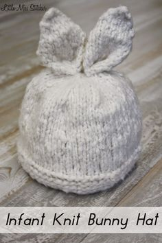 Little Miss Stitcher: Infant Knit Bunny Hat Free Pattern See other ideas and pictures from the category menu…. Faneks healthy and active life ideas Baby Hats Knitting, Knitting For Kids, Baby Knitting Patterns, Baby Patterns, Knitting Projects, Knitted Hats, Crochet Baby, Knit Crochet, Layette