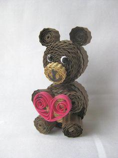 Quilled valentines bear