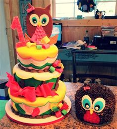 Sarah's Sweets - Gallery Sweet owls first birthday cake