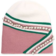 Gucci Embellished wool beanie ($625) ❤ liked on Polyvore featuring accessories, hats, pink, beanie caps, beanie cap hat, beanie hat, wool hat and pink hat