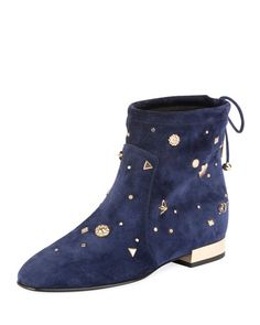ROGER VIVIER New Polly Astre Stud Bootie, Navy. #rogervivier #shoes #boots