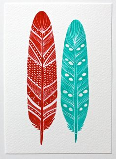Watercolor Feather Painting -  Malakai Feathers   River Luna Art, Etsy.