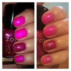 #Zoya Lola with a Kissy accent (Flash/No Flash). #nails #nailpolish #manicure