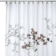 This elegant shower curtain has gray branch silhouettes on a white back with just one patch of leafed branches in a brown tone that pops from the muted colors. 39.99-20