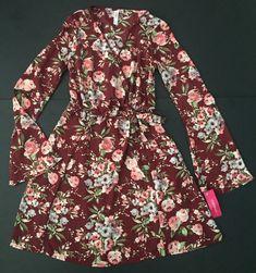 New Xhilaration Floral Dress XS Burgundy Faux Wrap Pink Floral Plunging Neckline    eBay