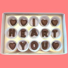 Valentines Day Gift for Him Man Her Woman I Heart You Large Milk Chocolate Letters Romantic Anniversary Birthday Made to Order