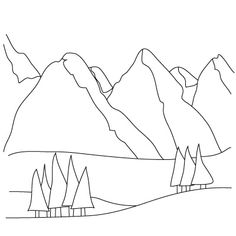 how to draw mountains for when i was young in the mountains - Simple Sketch For Kids