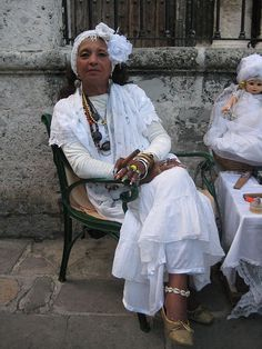"One of Havana, Cuba many beautifully dressed ""abuelitas""."