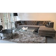 Decenni Tobias Sectional Orientation Right Hand Facing Grey Tufted Sofatufted