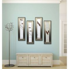 Rayne Brushed Silver Mirror Panel, Set of 4