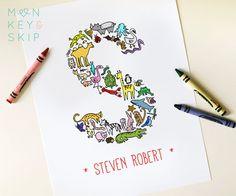Animal Nursery Art  Custom Name Print Letter S  by MonkeyAndSkip