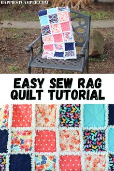 Want to pick up quilting as a hobby? We show you this Easy Sew Rag Quilt Tutorial! This fun and simple sewing tutorial will have you making your own rag quilt in less that 8 hours! This kind of quilt is my favorite to cozy up with because you can make these so soft! Plus, the ragging process is different everything you wash so your rag quilt will be unique and special. Quilts make great gifts too! Make yours today with our step-by-step sewing tutorial! Quilting. Rag quilt tutorial. Easy Sew Rag Quilting For Beginners, Quilting Tutorials, Sewing Tutorials, Quilting Ideas, Flannel Rag Quilts, Rag Quilt Patterns, Fabric Squares, Easy Sewing Projects, 8 Hours