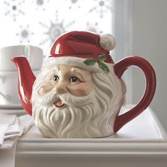 Santa Teapot from Through the Country Door® Christmas China, Christmas Dishes, Christmas Tablescapes, Christmas Tea, Christmas Kitchen, Christmas Decorations, Merry Christmas, Christmas Stuff, Pre Lit Garland