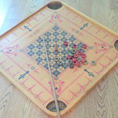 1940s Carrom Wood Game board