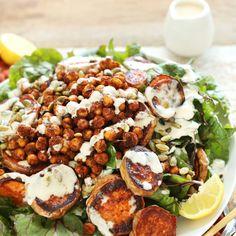 HEALTHY Roasted Sweet Potato Crispy Chickpea Salad with a 3-ingredient Creamy Tahini Dressing! #vegan #glutenfree #plantbased #healthy #dinner #recipe