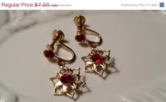 ON SALE Snowflake Dangle Screw Back Earrings with Red Rhinestones Vintage