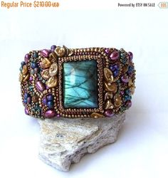 15% OFF Statement Bracelet Bead Embroidered Cuff by RedTulipDesign
