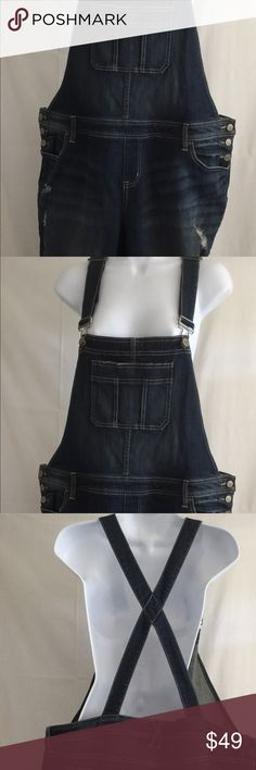 "Torrid Distressed  Denim Overall  PLUS SIZE 18 • Torrid Denim overalls Distressed  • Size: 18 • 98% cotton 2% spandex  • Measurements with garment lying flat: • Waist: 22"" • Inseam: 22"" • Total length: 60"" • Very good condition torrid Jeans Overalls"