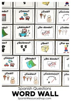 Pictures with words to display in the classroom to help your students finally understand the meanings of all of the Spanish question words!