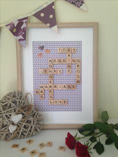 So many words you could include on a wedding celebration piece; Mr&Mrs, the venue, the church, place names etc.