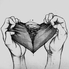 Easy Drawings Sketches, Sad Drawings, Dark Art Drawings, Pencil Art Drawings, Dark Art Illustrations, Illustration Art, Heartbroken Drawings, Broken Heart Drawings, Heart Broken