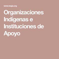Organizaciones Indígenas e Instituciones de Apoyo