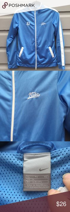 Sporty Baby Blue Nike Track Jacket Excellent condition, very cute, with nice details. Tag says XL, so larger size for children/girls or comfortable fit for XS or small women's. Adorable, lined with mesh so breathes. Nike Jackets & Coats